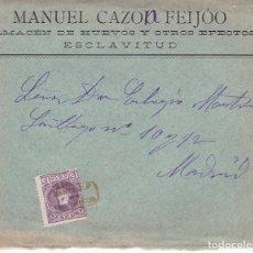 Sellos: F28-32- CARTA ESCLAVITUD (CORUÑA) 1909 MATASELLOS CARTERÍA IP.. CONSERVA EL TEXTO EN INTERIOR. Lote 221327841