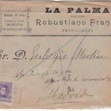 Sellos: F28-33 CARTA FERROL-NEDA (CORUÑA) 1906 MATASELLOS CARTERÍA IP.NEDA. CONSERVA EL TEXTO EN INTERIOR. Lote 221327903