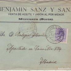 Sellos: F28-35- CARTA MORCUERA- S ESTEBAN DE GORMAZ (SORIA) 1911, VENTA ACEITE Y JABÓN. Lote 221328282