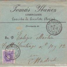 Sellos: F28-35- CARTA LARRIBA DE ESCALOTE (SORIA) 1906, TRÉBOL BERLANGA DE DUERO. Lote 221328308