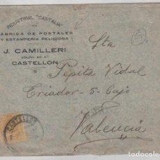 Sellos: SOBRE CIRCULADO INDUSTRIAL CASTALIA FÁBRICA DE POSTALES J. CAMILLERI CASTELLÓN.. Lote 221700850