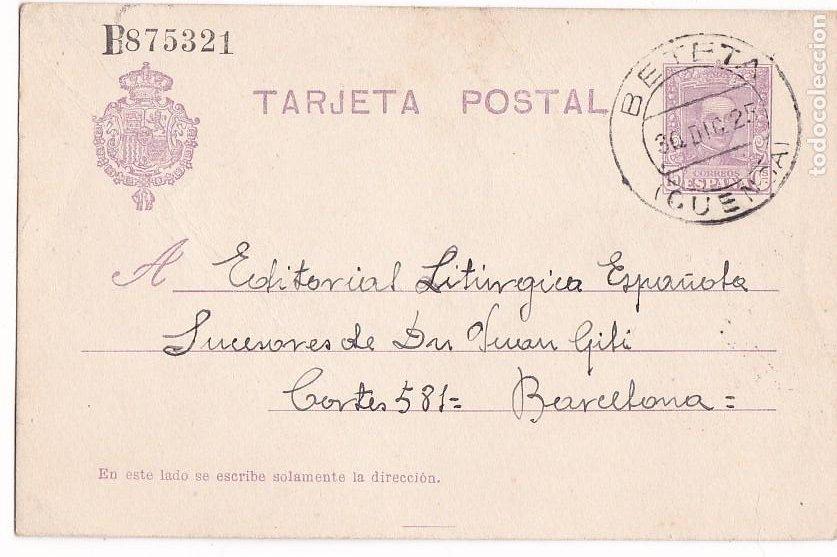 JJ24- ENTERO POSTAL VALSALOBRE - BETETA (CUENCA) 1925 (Sellos - España - Alfonso XIII de 1.886 a 1.931 - Cartas)
