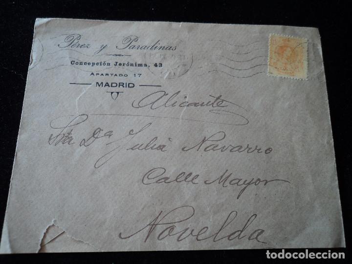 Sellos: sobre de perez y paradinas con sello de alfonso XIII 15 cts de madrid a novelda 1920 - Foto 4 - 221797478