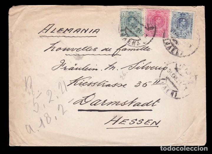 *** CARTA JAÉN -HESSEN (ALEMANIA) 1921. ALFONSO XIII. EDIFIL 268-169 Y 274 *** (Sellos - España - Alfonso XIII de 1.886 a 1.931 - Cartas)