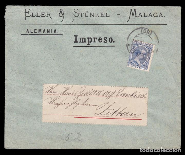 *** CARTA MÁLAGA-ALEMANIA 1904. ELLER & STÜNKEL (MÁLAGA). EDIFIL 215 *** (Sellos - España - Alfonso XIII de 1.886 a 1.931 - Cartas)