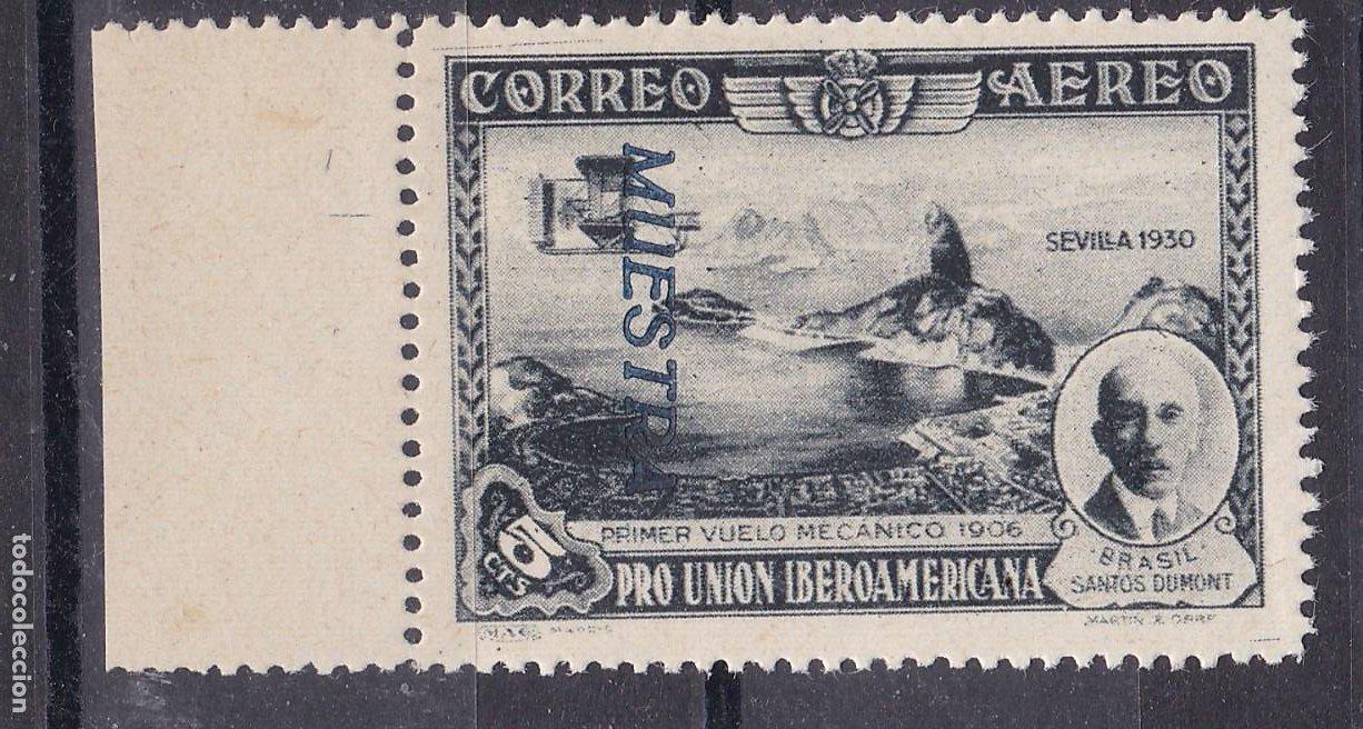 LL11-IBEROAMERICANA 5 CTS AÉREO EDIFIL 583 . VARIEDAD MUESTRA CALCADA ** SIN FIJASELLOS. LUJO (Sellos - España - Alfonso XIII de 1.886 a 1.931 - Nuevos)