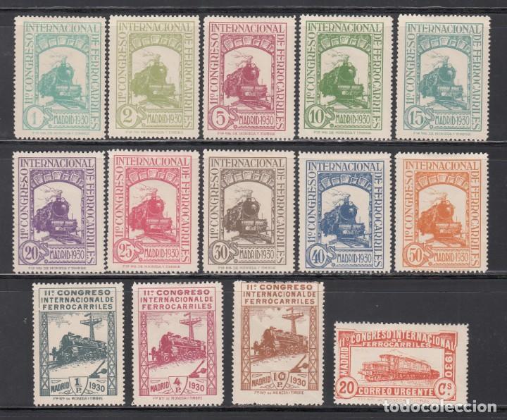 ESPAÑA, 1930 EDIFIL Nº 469 / 482 N /*/, CONGRESO INTERNACIONAL DE FERROCARRILES, MUESTRA A000,000. (Sellos - España - Alfonso XIII de 1.886 a 1.931 - Nuevos)