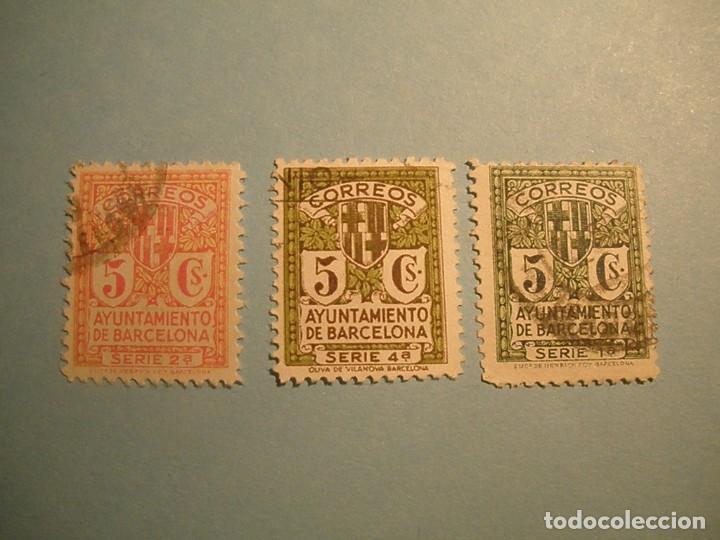 BARCELONA 1929-31 - TELEGRAFOS - VISTAS DE LA EXPOSICION Y ESCUDO DE LA CIUDAD - SERIES 1ª, 2ª Y 4ª. (Sellos - España - Alfonso XIII de 1.886 a 1.931 - Usados)