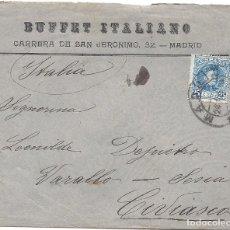 Sellos: ESPAÑA.AÑO 1908.CARTA CIRCULADA: MADRID-ITALIA. Lote 222141940
