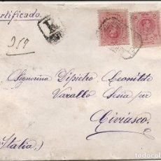Sellos: ESPAÑA.AÑO 1911.CARTA CIRCULADA./MADRID - MILAN - CIVIASCO (ITALIA).. Lote 222142338