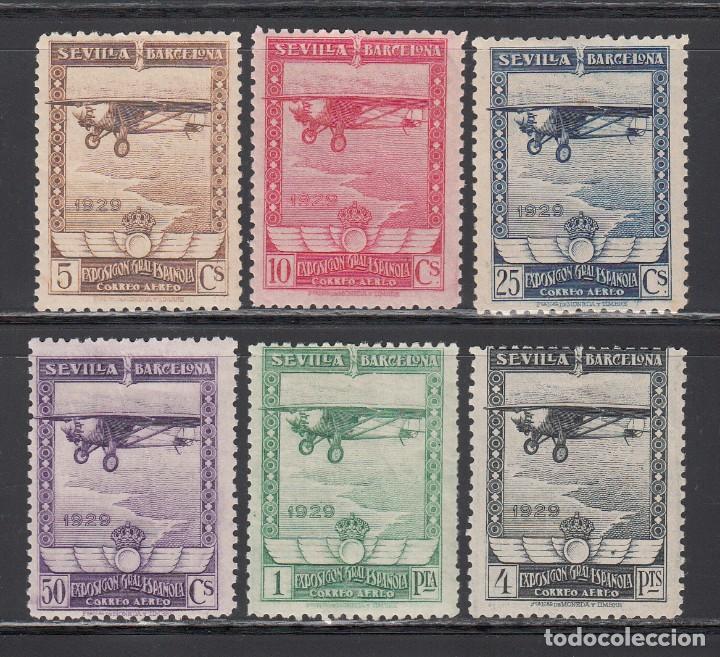 ESPAÑA, 1929 EDIFIL Nº 448 / 453 , EXPOSICIÓN DE SEVILLA Y BARCELONA. AÉREOS (Sellos - España - Alfonso XIII de 1.886 a 1.931 - Nuevos)