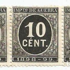 Sellos: LOTE DE 36 SELLOS DE 10 CENTIMOS DE 1898- IMPUESTO DE GUERRA-NUEVOS SIN GOMA-ALFONSO XIII-EDIFIL 237. Lote 222384492