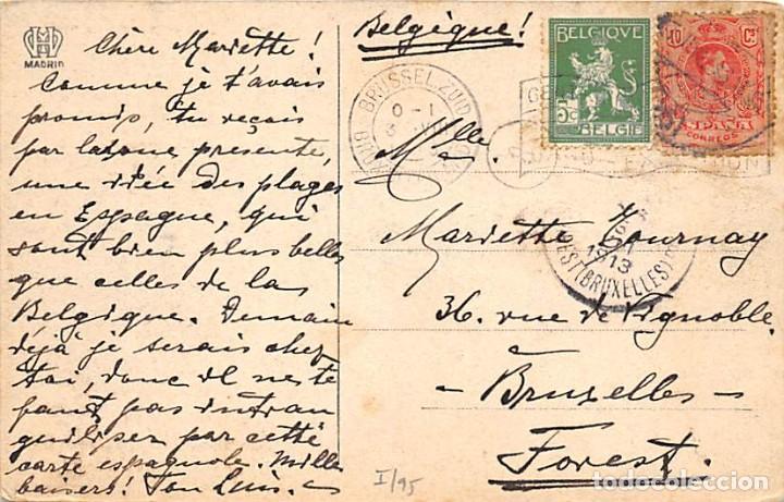 1913. SELLO ED. 269. TARJETA POSTAL DIRIGIDA DE SANTANDER A BÉLGICA CON UN SELLO REUTILIZADO. TASADO (Sellos - España - Alfonso XIII de 1.886 a 1.931 - Cartas)