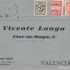 Sellos: 3 CARTAS CON SELLO DE DERECHO DE ENTREGA. UNA FRANQUEO CORRECTO 17/07/1931 SELLO PERÍODO MONARQUIA. Lote 222583703