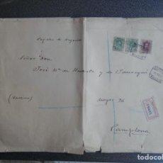 Francobolli: SOBRE CARTA GRAN TAMAÑO CERTIFICADO AÑO 1922 SELLO CONTROL MADRID CENTRAL 3 EDIFIL 275 Y 311. Lote 224616856