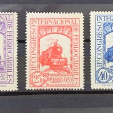 Selos: AÑO 1930. Nº 474, 475 Y 477*** XI CONGRESO INTERNACIONAL DE FERROCARRILES. Lote 226016352
