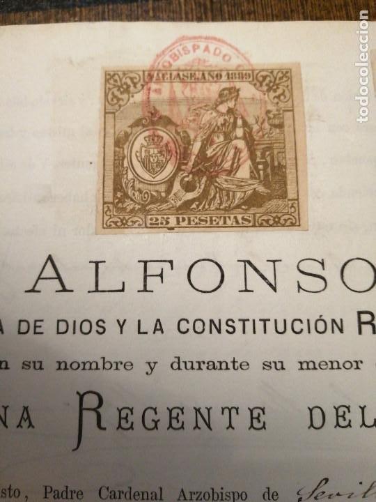 Sellos: ALFONSO XIII. MENOR DE EDAD- REINA REGENTE DEL REINO- PARA CURATO DE VILLALBA DEL ALCOR, AÑO 1889, V - Foto 2 - 227479610