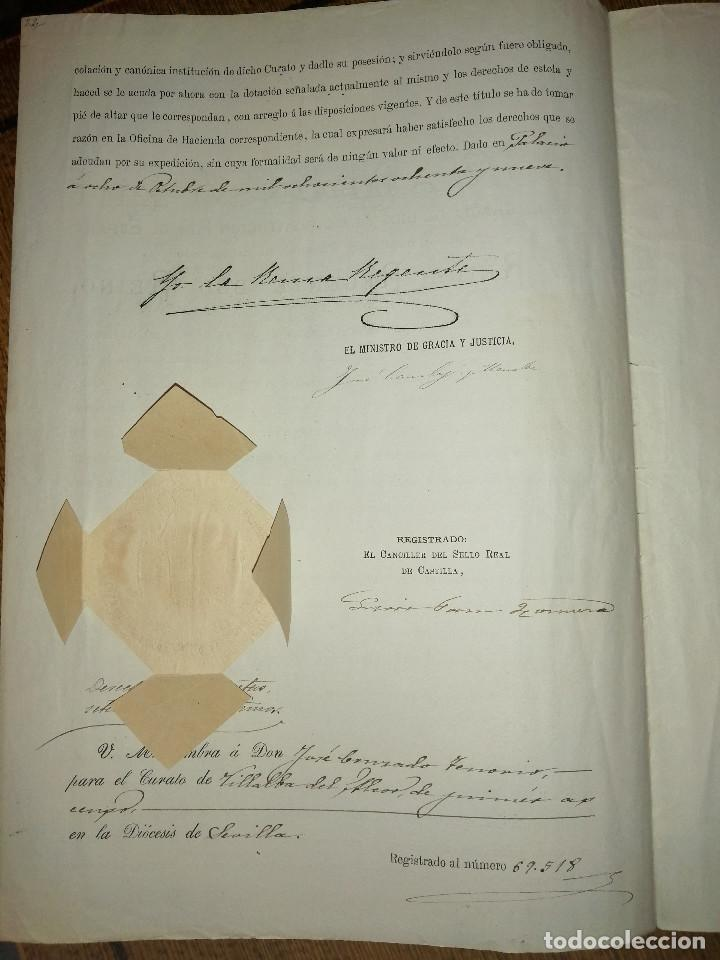 Sellos: ALFONSO XIII. MENOR DE EDAD- REINA REGENTE DEL REINO- PARA CURATO DE VILLALBA DEL ALCOR, AÑO 1889, V - Foto 5 - 227479610