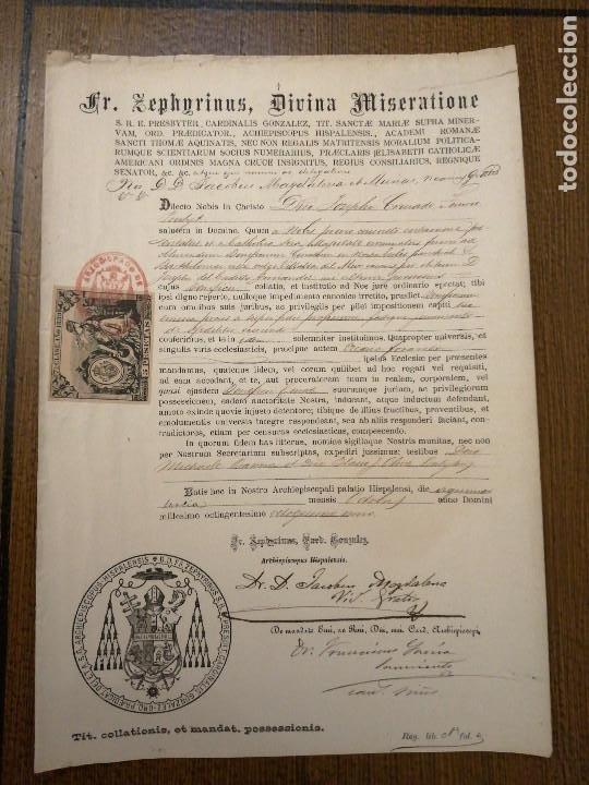 ARCHIEPISCOPUS HISPALENSE,- PARA CURATO DE VILLALBA DEL ALCOR, AÑO 1889, VER FOTOS (Sellos - España - Alfonso XIII de 1.886 a 1.931 - Usados)