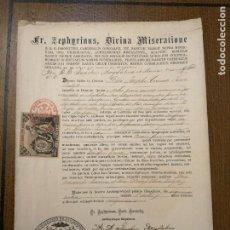 Sellos: ARCHIEPISCOPUS HISPALENSE,- PARA CURATO DE VILLALBA DEL ALCOR, AÑO 1889, VER FOTOS. Lote 227480425