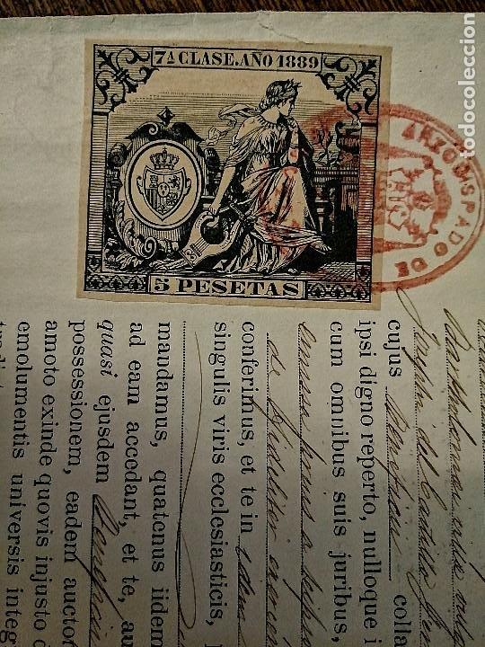 Sellos: ARCHIEPISCOPUS HISPALENSE,- PARA CURATO DE VILLALBA DEL ALCOR, AÑO 1889, VER FOTOS - Foto 2 - 227480425
