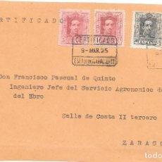 Timbres: VAQUER. EDIFIL 311-318. FRONTAL DE CERTIFICADO DE EGEA DE LOS CABALLEROS A ZARAGOZA. 1925. Lote 232894815