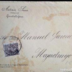 Timbres: ALFONSO XIII PELÓN GUADALAJARA SOBRE PUBLICITARIO ANTONIO SANZ ESPAÑA SPAIN. Lote 233362615