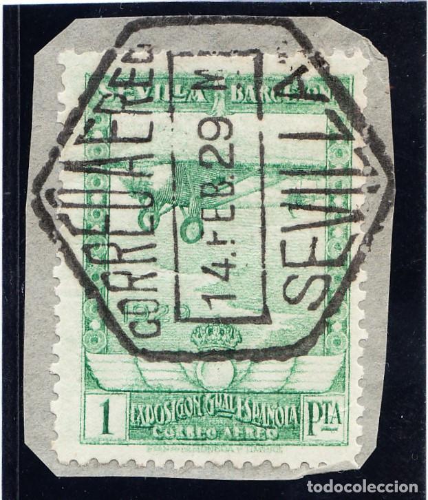 1929 PRO EXPOSICIONES DE SEVILLA Y BARCELONA 1 PESETA VERDE AMARILLENTO MAT. CORREO AÉREO SEVILLA (Sellos - España - Alfonso XIII de 1.886 a 1.931 - Usados)