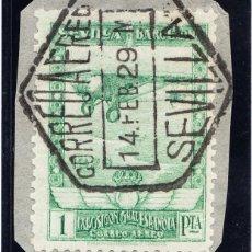 Sellos: 1929 PRO EXPOSICIONES DE SEVILLA Y BARCELONA 1 PESETA VERDE AMARILLENTO MAT. CORREO AÉREO SEVILLA. Lote 233838870