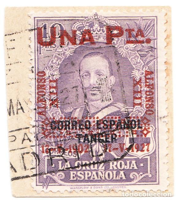 1927 XXV ANIVERSARIO DE LA CORONACIÓN DE ALFONSO XIII EDIFIL 396 SOBRE FRAGMENTO (Sellos - España - Alfonso XIII de 1.886 a 1.931 - Usados)