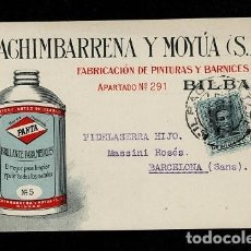Sellos: 0603-7 TARJETA INDUSTRIAL PUBLICITARIA DE MACHIMBARRENA Y MOYA S.A.DE BILBAO, CIRCULADA A BARCELONA. Lote 234143890