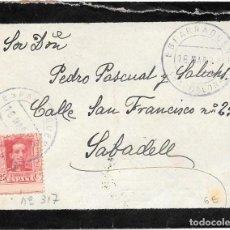 Sellos: CATALUÑA VAQUER EDIFIL 317. SOBRE CIRCULADO DE ESPARRAGUERA - BARCELONA A SABADELL 1924. Lote 234336450