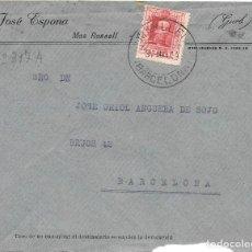 Sellos: CATALUÑA VAQUER EDIFIL 317. SOBRE CIRCULADO DE MANLLEU - BARCELONA A BARCELONA. Lote 234336760