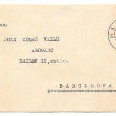 Sellos: BALEARES VAQUER EDIFIL 317. SOBRE CIRCULADO DE MAHON A BARCELONA 1925. Lote 234337105