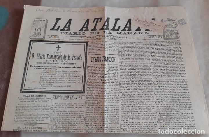 EDIFIL 173 LA ATALAYA PERIODICO ENVIADO DE SANTANDERA TORRELAVEGA CON FAJA. 1895 (Sellos - España - Alfonso XIII de 1.886 a 1.931 - Cartas)