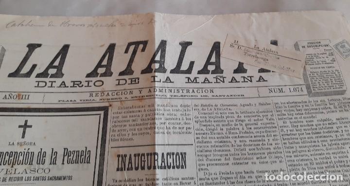 Sellos: EDIFIL 173 LA ATALAYA PERIODICO ENVIADO DE SANTANDERA TORRELAVEGA CON FAJA. 1895 - Foto 2 - 234902095