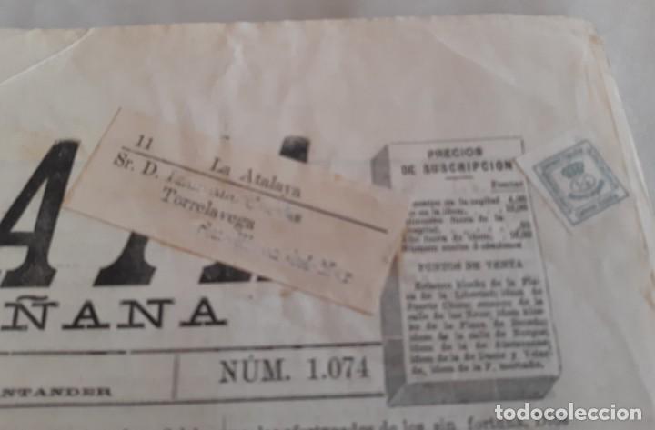 Sellos: EDIFIL 173 LA ATALAYA PERIODICO ENVIADO DE SANTANDERA TORRELAVEGA CON FAJA. 1895 - Foto 3 - 234902095