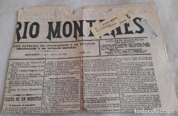 DIARIO MONTAÑES REMITIDO DE SANTANDER A SANTILLANA CON FAJA Y TAMPON DE FRANQUEO CONCERTADO 1905 (Sellos - España - Alfonso XIII de 1.886 a 1.931 - Cartas)