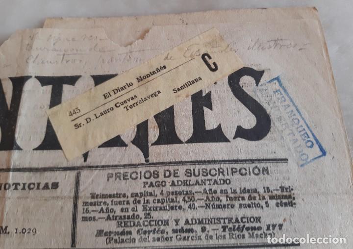 Sellos: DIARIO MONTAÑES REMITIDO DE SANTANDER A SANTILLANA CON FAJA Y TAMPON DE FRANQUEO CONCERTADO 1905 - Foto 2 - 234910705