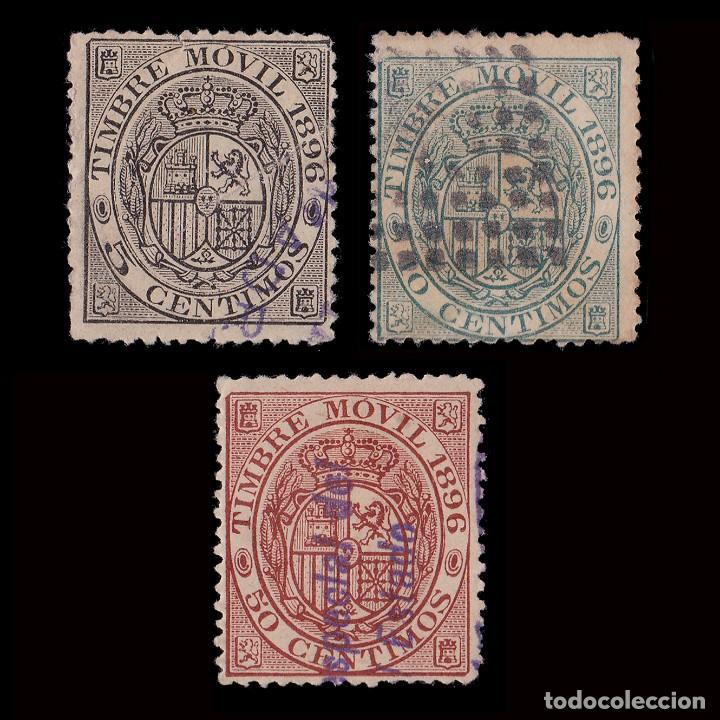 FISCAL.1896.TIMBRE MOVIL.MATASELLO.GALVEZ 87-88-91 (Sellos - España - Alfonso XIII de 1.886 a 1.931 - Usados)