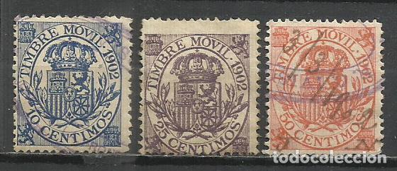 8231DD-SELLOS FISCALES TIMBRE MOVIL VALOR 31,00€ EDIFIL ALEMANY,RAROS AÑO 1902. Nº 70-72-73.SPAIN RE (Sellos - España - Alfonso XIII de 1.886 a 1.931 - Usados)