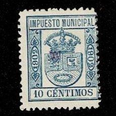 Sellos: N-6 ESPAÑA IMPUESTO MUNICIPAL AÑO 1902 VALOR 10 CTS COLOR AZUL. USADO. Lote 235637375