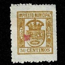 Sellos: N-6 ESPAÑA IMPUESTO MUNICIPAL AÑO 1904 VALOR 50 CTS COLOR OCRE. USADO. Lote 235637760