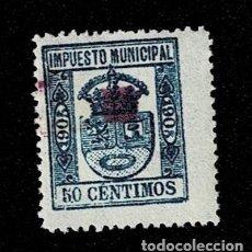 Sellos: N-6 ESPAÑA IMPUESTO MUNICIPAL AÑO 1905 VALOR 50 CTS COLOR AZUL. USADO. Lote 235638080