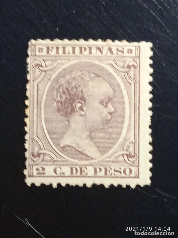 ESPAÑA PHILIPPINES 2 CENTAVOS DE PESO ALFONSO XIII 1893, (Sellos - España - Alfonso XIII de 1.886 a 1.931 - Usados)