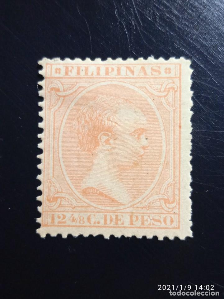 ESPAÑA PHILIPPINES 12,4/8 CENTAVOS DE PESO ALFONSO XIII 1893, (Sellos - España - Alfonso XIII de 1.886 a 1.931 - Usados)