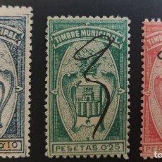 Sellos: TIMBRE MUNICIPAL DE CASTELLÓN DE LA PLANA (ALICANTE). 1900. 3 VALORES. Lote 237701680