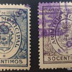 Sellos: SELLO MUNICIPAL DEL AYUNTAMIENTO DE HUELVA. 1913. 2 VALORES. Lote 237702410