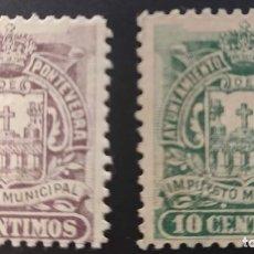Sellos: IMPUESTO MUNICIPAL DEL AYUNTAMIENTO DE PONTEVEDRA. 1897. 2 VALORES. Lote 237702915