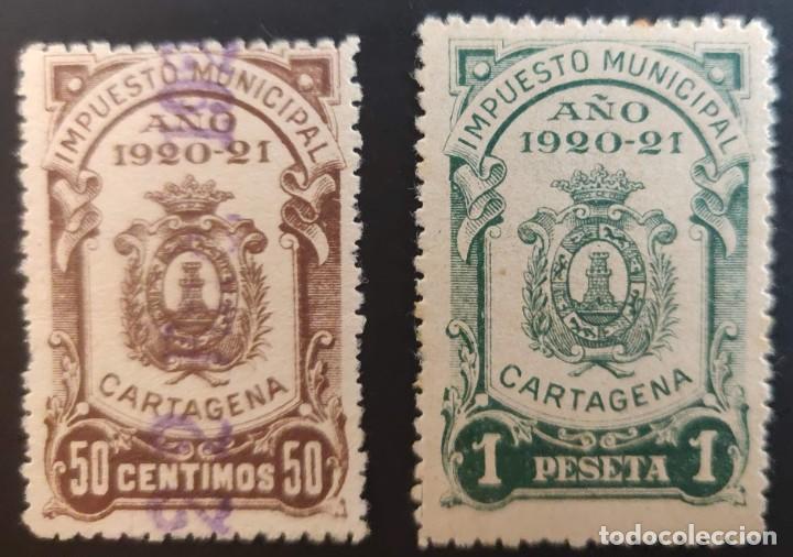 IMPUESTO MUNICIPAL DE CARTAGENA (MURCIA). 1920-21. 2 VALORES (Sellos - España - Alfonso XIII de 1.886 a 1.931 - Nuevos)